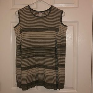 Small green cold shoulder long sleeve top